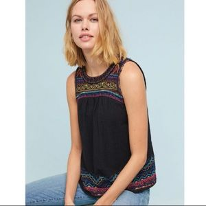 Anthropologie Mesa Embroidered Top